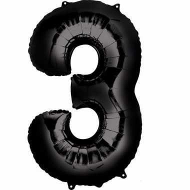 3 jaar versiering cijfer ballon zwart