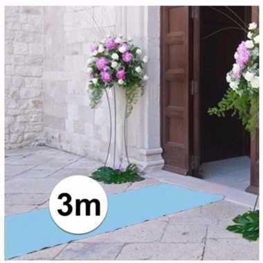 3 meter lichtblauwe versiering loper 1 meter breed
