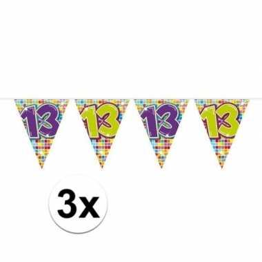 3 mini vlaggenlijn / slinger verjaardag versiering 13 jaar
