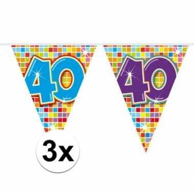3 mini vlaggenlijn / slinger verjaardag versiering 40 jaar