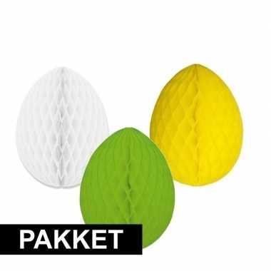 3 versiering paaseieren pakket paaskleuren 20 cm