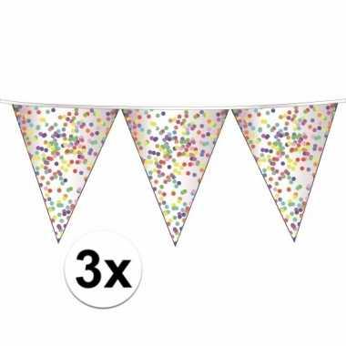 3 x confetti versiering vlaggenlijn 10 meter