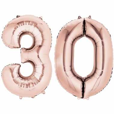 30 jaar versiering cijfer ballon rose goud