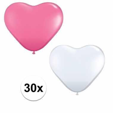 30x bruiloft ballonnen wit / roze hartjes versiering