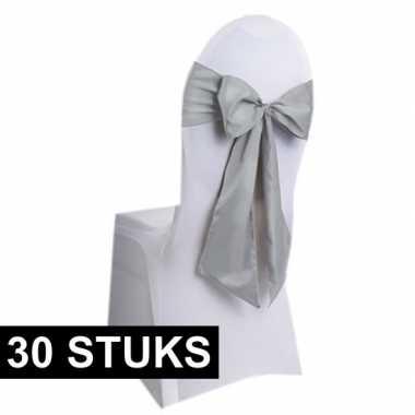 30x bruiloft stoel versiering zilveren strikken