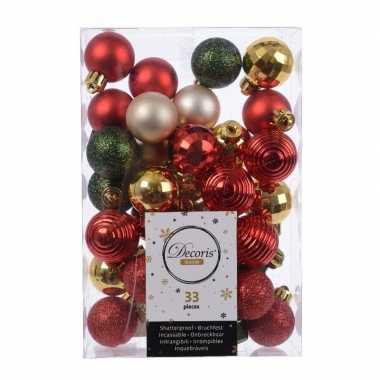 33x kerstversiering kerstballen mix rood champagne goud groen