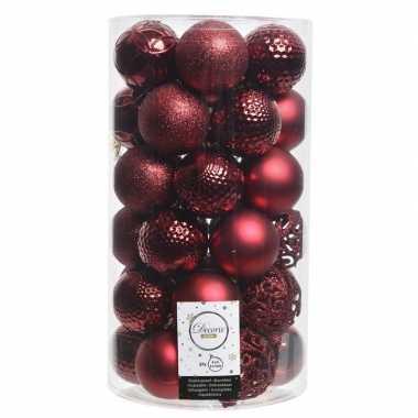 36x donker rode kerstversiering kerstballenset kunststof 6 cm