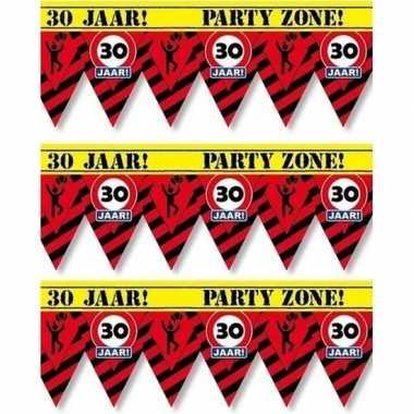 3x 30 jaar party tape/markeerlinten waarschuwing 12 m versiering