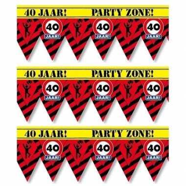 3x 40 jaar party tape/markeerlinten waarschuwing 12 m versiering