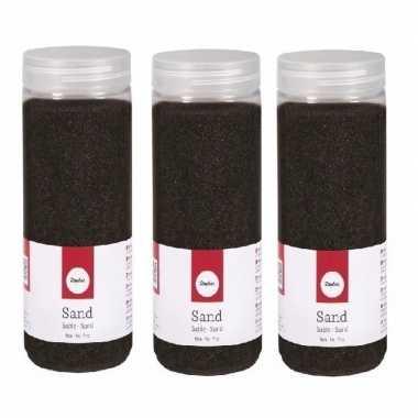 3x 475 ml versiering materiaal zwart zand