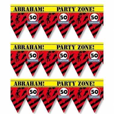 3x 50 abraham tape/markeerlinten waarschuwing 12 m versiering