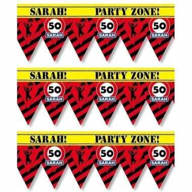 3x 50 sarah tape/markeerlinten waarschuwing 12 m versiering