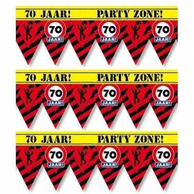 3x 70 jaar party tape/markeerlinten waarschuwing 12 m versiering