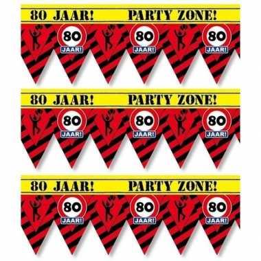 3x 80 jaar party tape/markeerlinten waarschuwing 12 m versiering