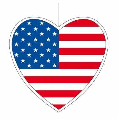 3x amerika hangversiering harten 14 cm