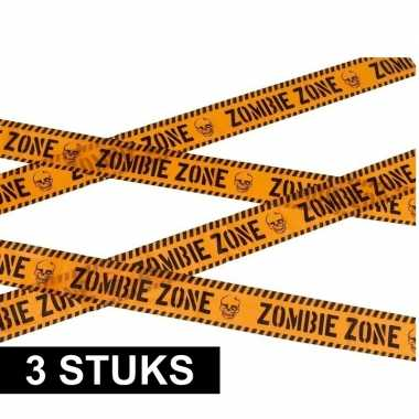 3x caution versieringlint oranje 6 meter