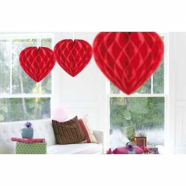 3x feestversiering versiering hart rood 30 cm