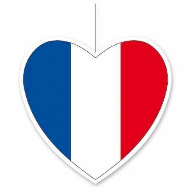 3x frankrijk hangversiering harten 14 cm