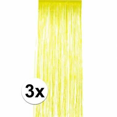 3x geel versiering deurgordijn