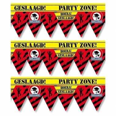 3x geslaagd party tape/markeerlint waarschuwing 12 m versiering