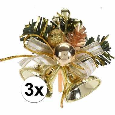 3x gouden kerstklokjes/kerststukjes versierings 8 cm