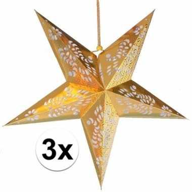 3x gouden versiering ster 60 cm