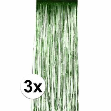 3x groen versiering deurgordijn