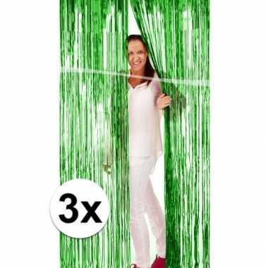 3x groene versiering folie deurgordijn