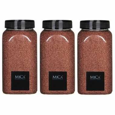 3x hobby/versieringzand koper bruin 650 ml