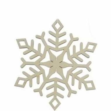 3x houten sneeuwvlok type 1 kerstversiering hangversiering 10 cm