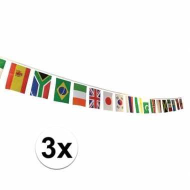 3x internationale versiering vlaggetjes