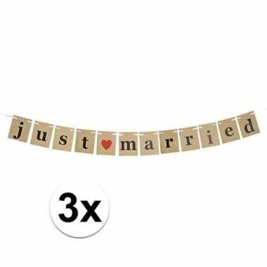 3x just married papieren slinger 200 cm bruiloft versiering