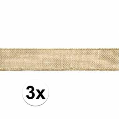 3x jute cadeaulint/versieringlint 5 x 500 cm op rol