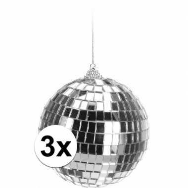 3x kerstboom versiering discoballen zilver 10 cm