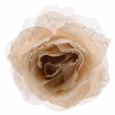 3x kerstboom versiering roos creme 14 cm