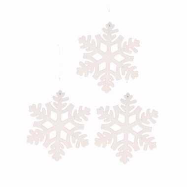 3x kerstboom versiering witte sneeuwvlok hanger 10 cm type 1
