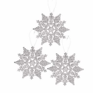 3x kerstboom versiering zilveren glitter sneeuwvlok 10 cm type 2
