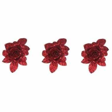 3x kerstboomversiering bloem op clip rode glitter roos 15 cm
