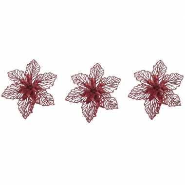 3x kerstboomversiering op clip rode glitter bloem 17 cm