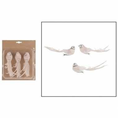 3x kerstboomversiering vogels op clip wit/lichtroze 17 cm