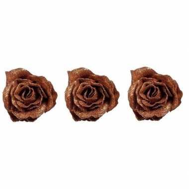 3x koperen roos met glitters op clip 7 cm kerstversiering