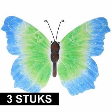 3x metalen vlinders blauw/groen 40 cm tuin versiering