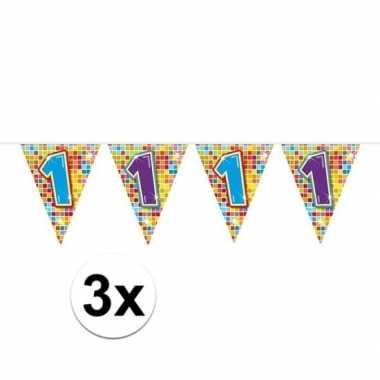 3x mini vlaggenlijn / slinger verjaardag versiering 1 jaar