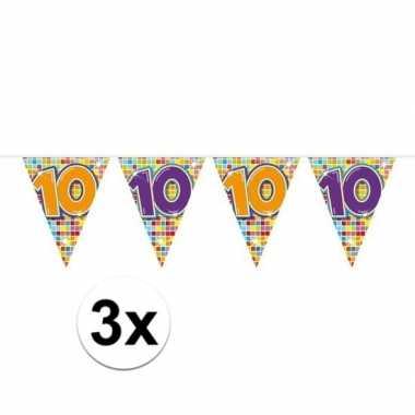3x mini vlaggenlijn / slinger verjaardag versiering 10 jaar