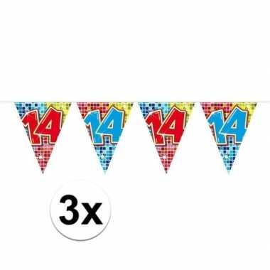 3x mini vlaggenlijn / slinger verjaardag versiering 14 jaar