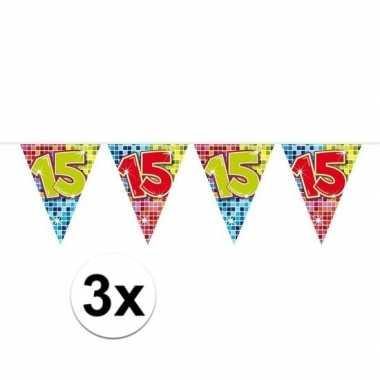 3x mini vlaggenlijn / slinger verjaardag versiering 15 jaar