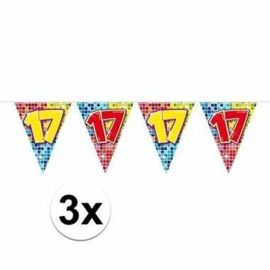 3x mini vlaggenlijn / slinger verjaardag versiering 17 jaar