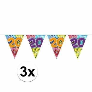 3x mini vlaggenlijn / slinger verjaardag versiering 20 jaar