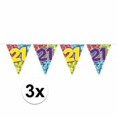 3x mini vlaggenlijn / slinger verjaardag versiering 21 jaar