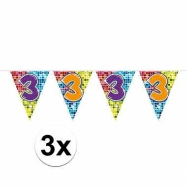 3x mini vlaggenlijn / slinger verjaardag versiering 3 jaar